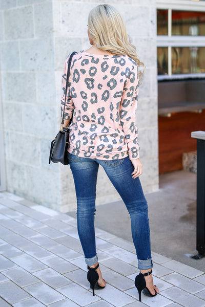 Wild Ways Leopard Top - Blush women's animal print long sleeve top, Closet Candy Boutique 3