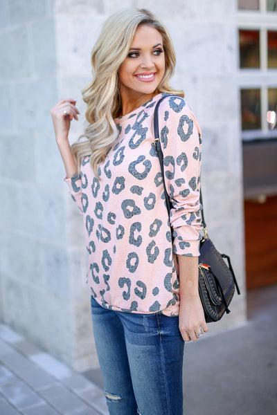 Wild Ways Leopard Top - Blush women's animal print long sleeve top, Closet Candy Boutique 4