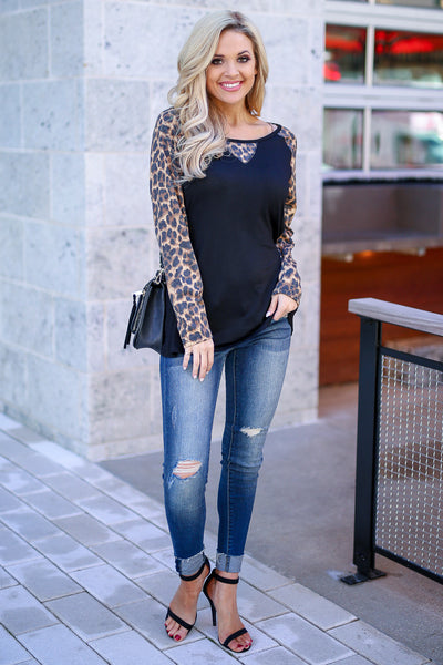 Test The Limits Leopard Top - Black women's animal print raglan, Closet Candy Boutique 1