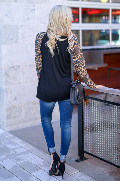 Test The Limits Leopard Top - Black women's animal print raglan, Closet Candy Boutique 4