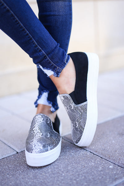 Ellie Snake Print Sneakers - Grey womens slip on shoes closet candy boutique 2