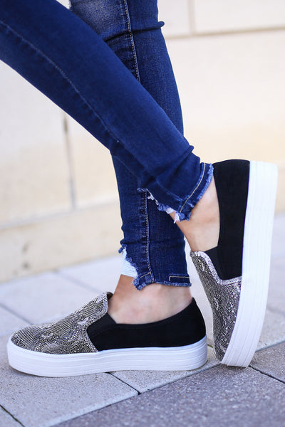 Ellie Snake Print Sneakers - Grey womens slip on shoes closet candy boutique 1