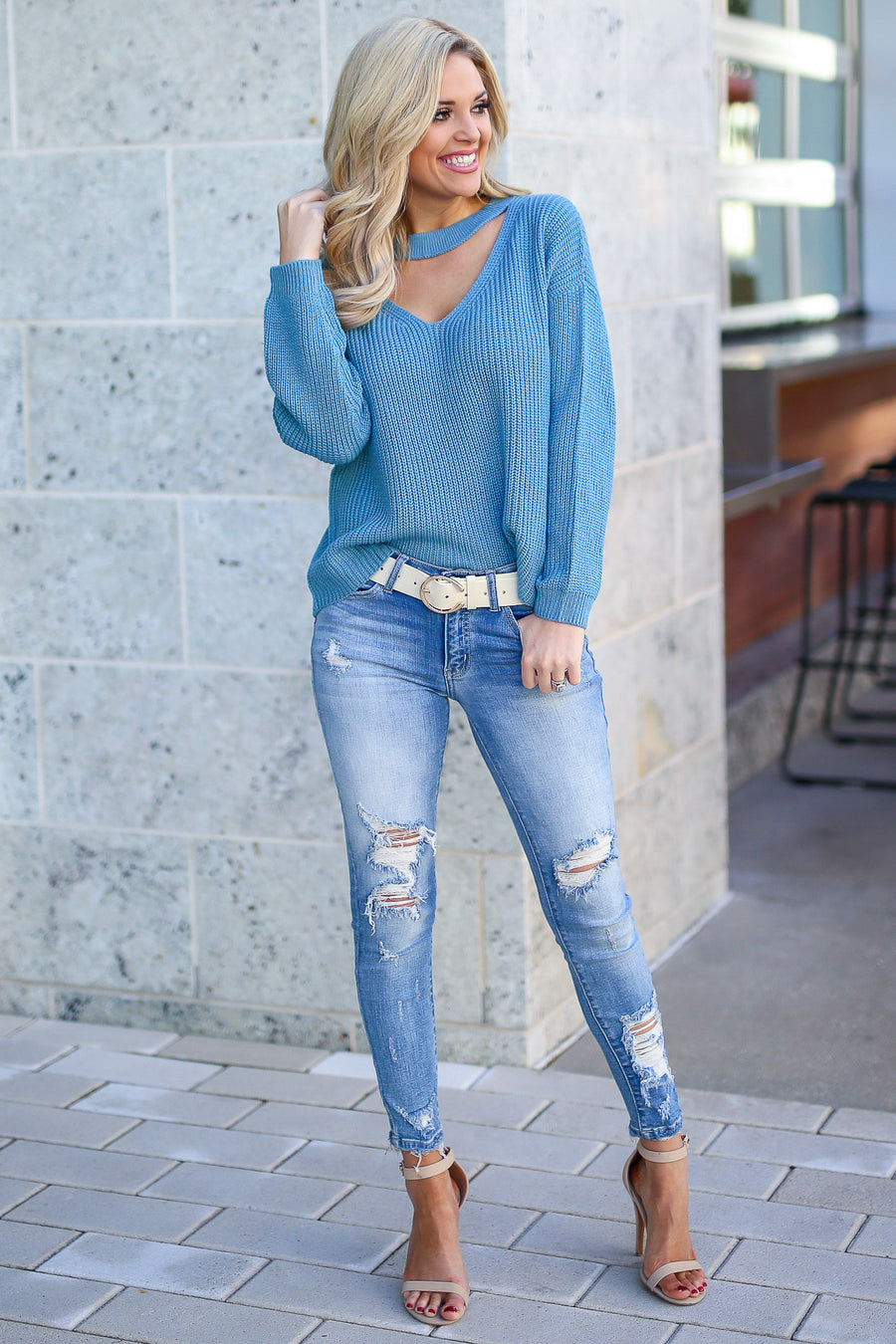 Calls For Cocktails Knit Top - Dusty Blue women's long sleeve top with choker neckline, Closet Candy Boutique 1