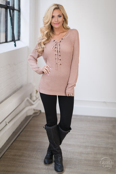 Lovely In Lace-Up Sweater - Mink