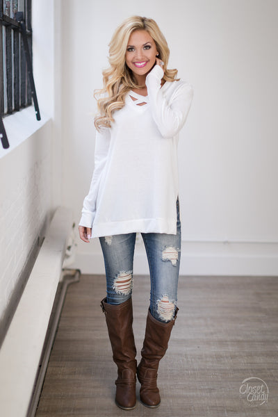 Enough Said Sweater - ivory criss cross sweater, trendy fall outfit, Closet Candy Boutique