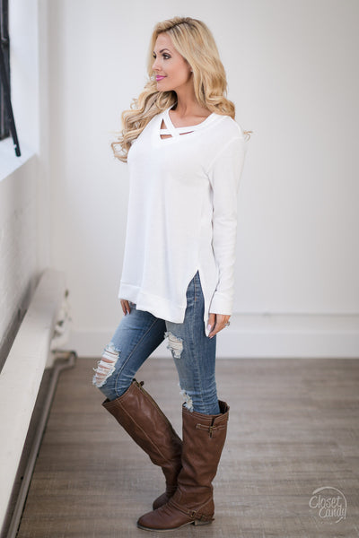 Enough Said Sweater - ivory criss cross sweater, trendy fall outfit, side, Closet Candy Boutique