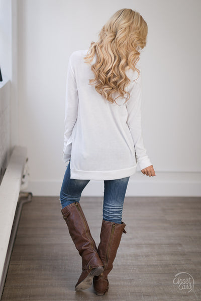 Enough Said Sweater - ivory criss cross sweater, trendy fall outfit, back, Closet Candy Boutique