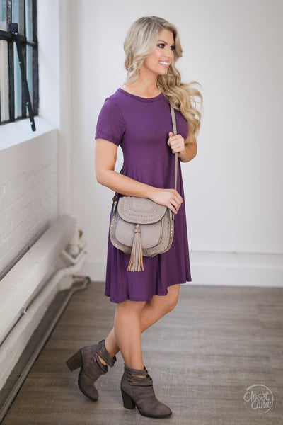 Ready In No Time T-Shirt Dress - Purple