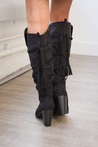 Looking Up Heeled Boots - Black