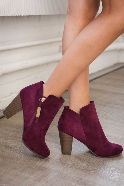 Lucky In Love Zipper Booties - Wine