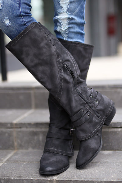 Stomping Ground Boots - Black vegan leather overlay boots, front, Closet Candy Boutique