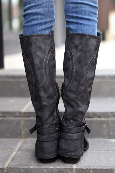 Stomping Ground Boots - Black vegan leather overlay boots, back, Closet Candy Boutique