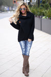 Wrap Me Up Sweater - Black cowl neck wrap sweater, outfit, Closet Candy Boutique 2