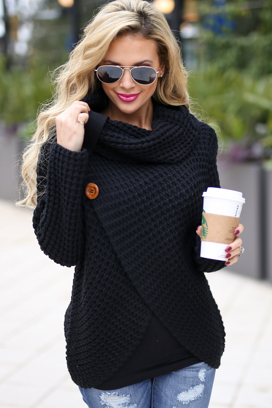 All Wrapped Up Sweater - Black knit button wrap sweater, front, Closet Candy Boutique