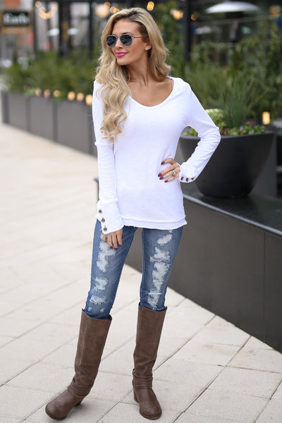 Downtown Lights Top - White long button sleeve top, front, Closet Candy Boutique