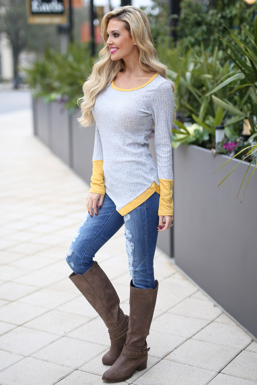 Sunny Destinations Top - Heather Grey/Mustard long sleeve contrast trim top, front, Closet Candy Boutique