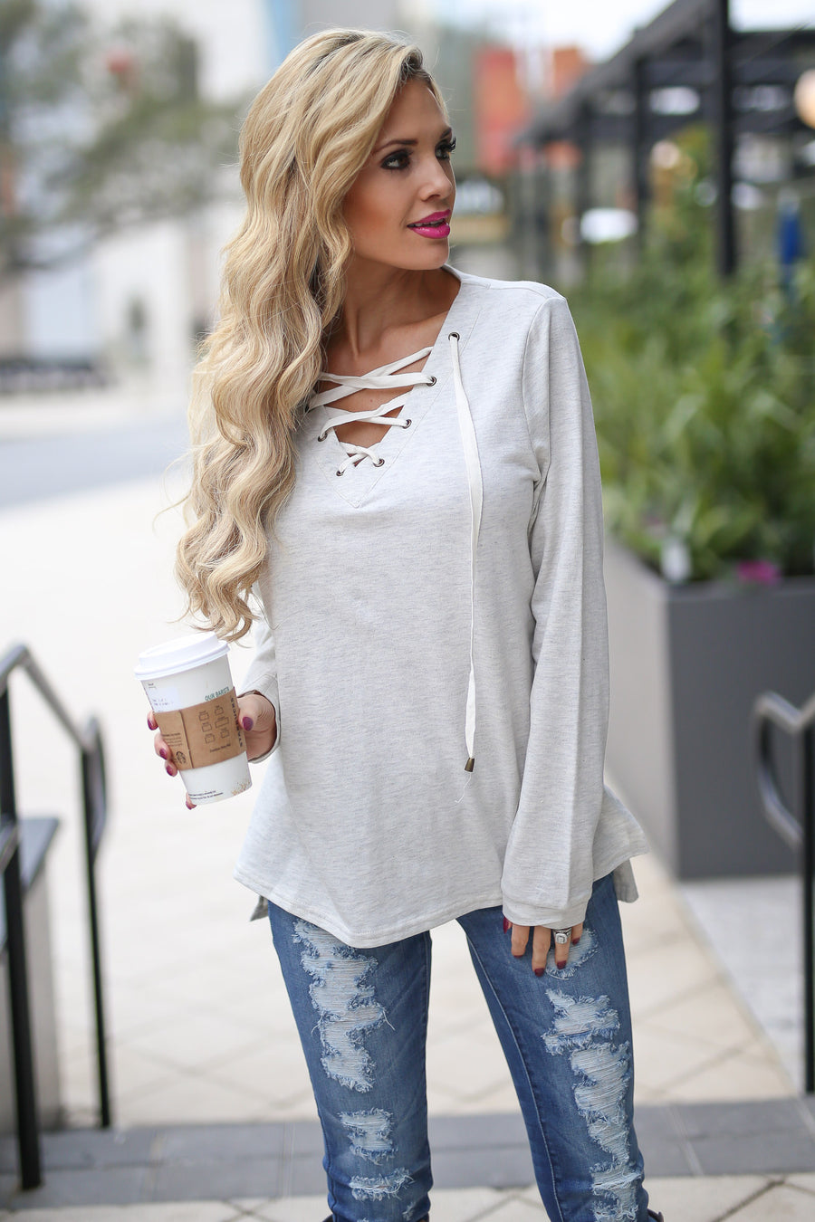Look At Me Now Top - cute oatmeal long sleeve lace up top, front, Closet Candy Boutique