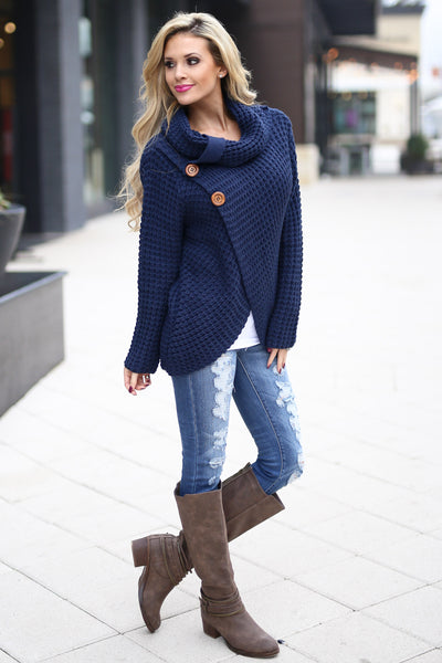 All Wrapped Up Sweater - Navy knit wrap sweater with collar and buttons, Closet Candy Boutique 2