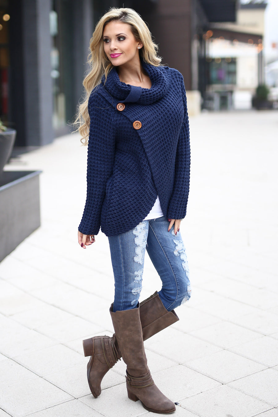 All Wrapped Up Sweater - Navy knit wrap sweater with collar and buttons, Closet Candy Boutique 1