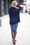 All Wrapped Up Sweater - Navy knit wrap sweater with collar and buttons, Closet Candy Boutique 4