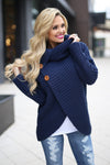 All Wrapped Up Sweater - Navy knit wrap sweater with collar and buttons, Closet Candy Boutique 3