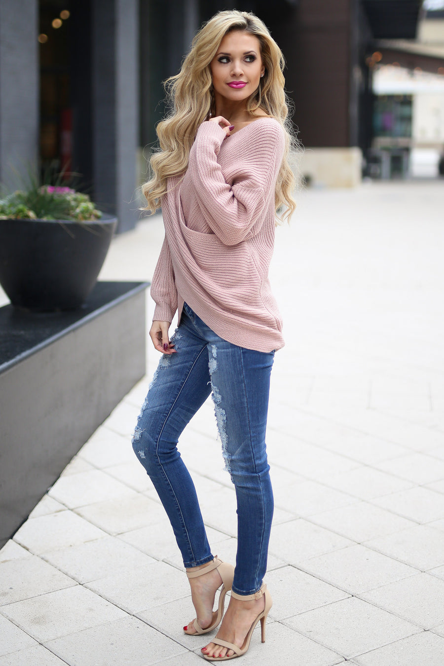 Take My Word For It Sweater - cute blush surplice v-neck sweater, outfit, Closet Candy Boutique