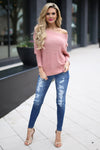 House Party Sweater - Dusty Rose off the shoulder sweater, front, Closet Candy Boutique 1