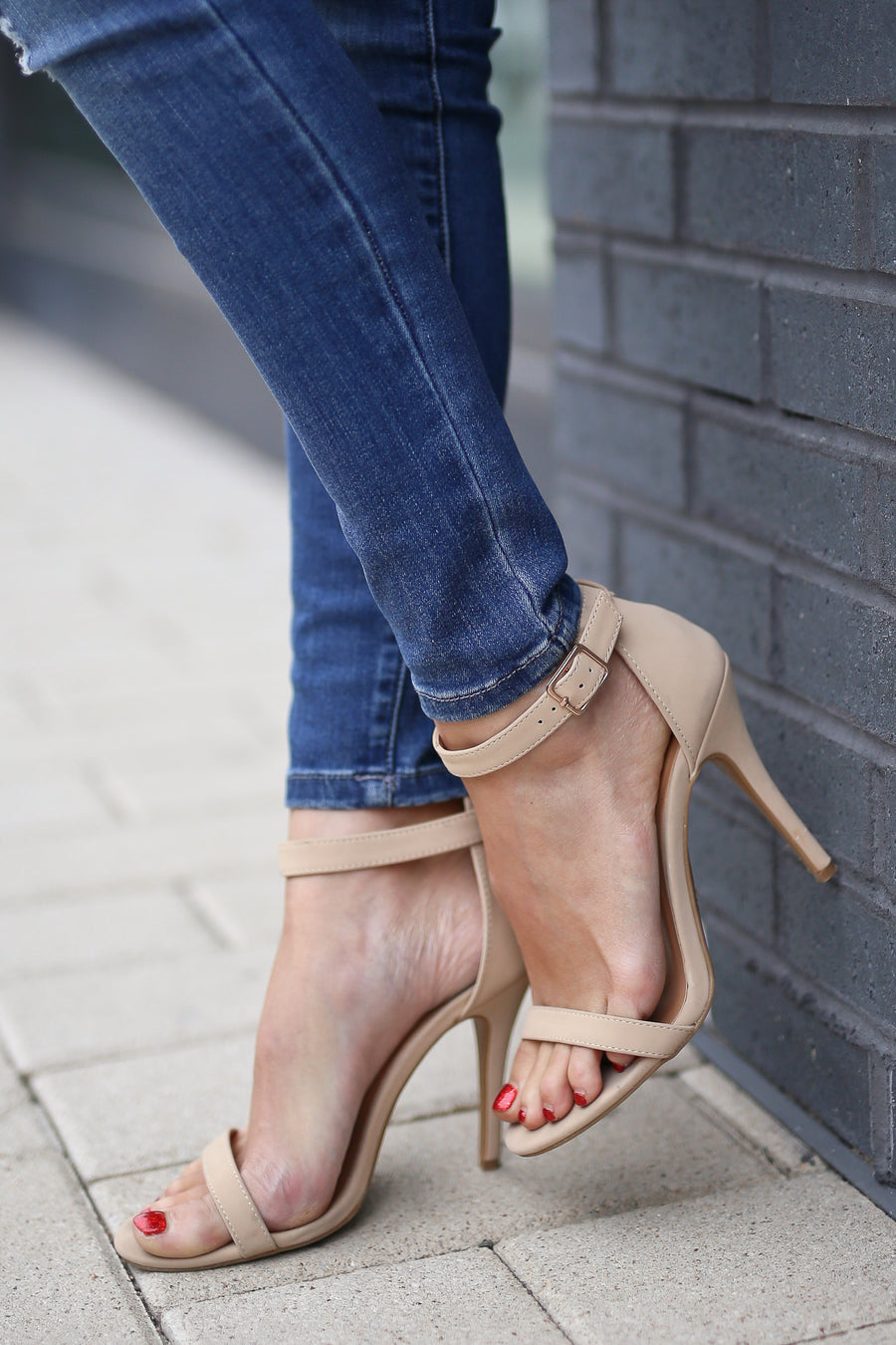 Love Sick Heels - nude strappy  heels, side, Closet Candy Boutique