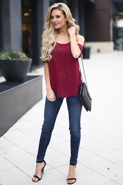 Born For This Top - Wine cold shoulder strappy back top, front, Closet Candy Boutique