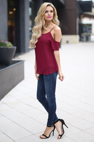 Born For This Top - Wine cold shoulder strappy back top, side, Closet Candy Boutique