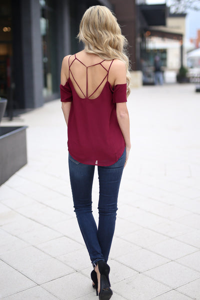 Born For This Top - Wine cold shoulder strappy back top, back, Closet Candy Boutique