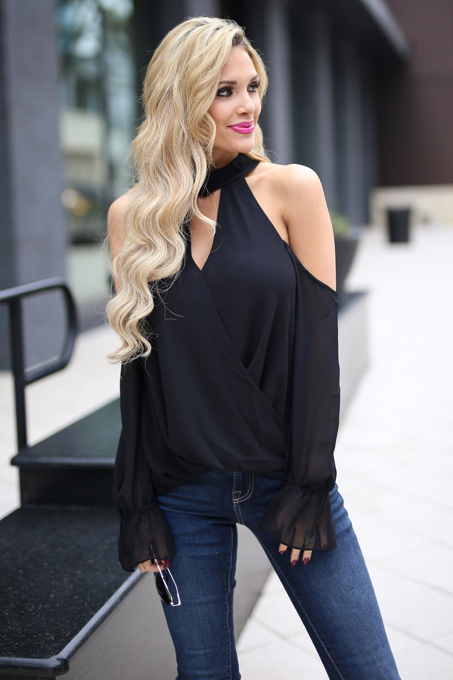 Big Plans Top - Black long bell sleeve cold shoulder top, front, Closet Candy Boutique