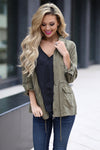 Where We Are Bound Cargo Jacket - Olive women's layering jacket, Closet Candy Boutique 1