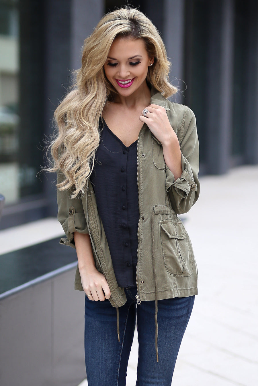 GRACE & LACE More Than Meets the Eye Jacket - Olive cargo jacket, side, Closet Candy Boutique