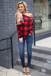 Feel The Magic Top - Black/Red plaid off the shoulder top, outfit, Closet Candy Boutique 1