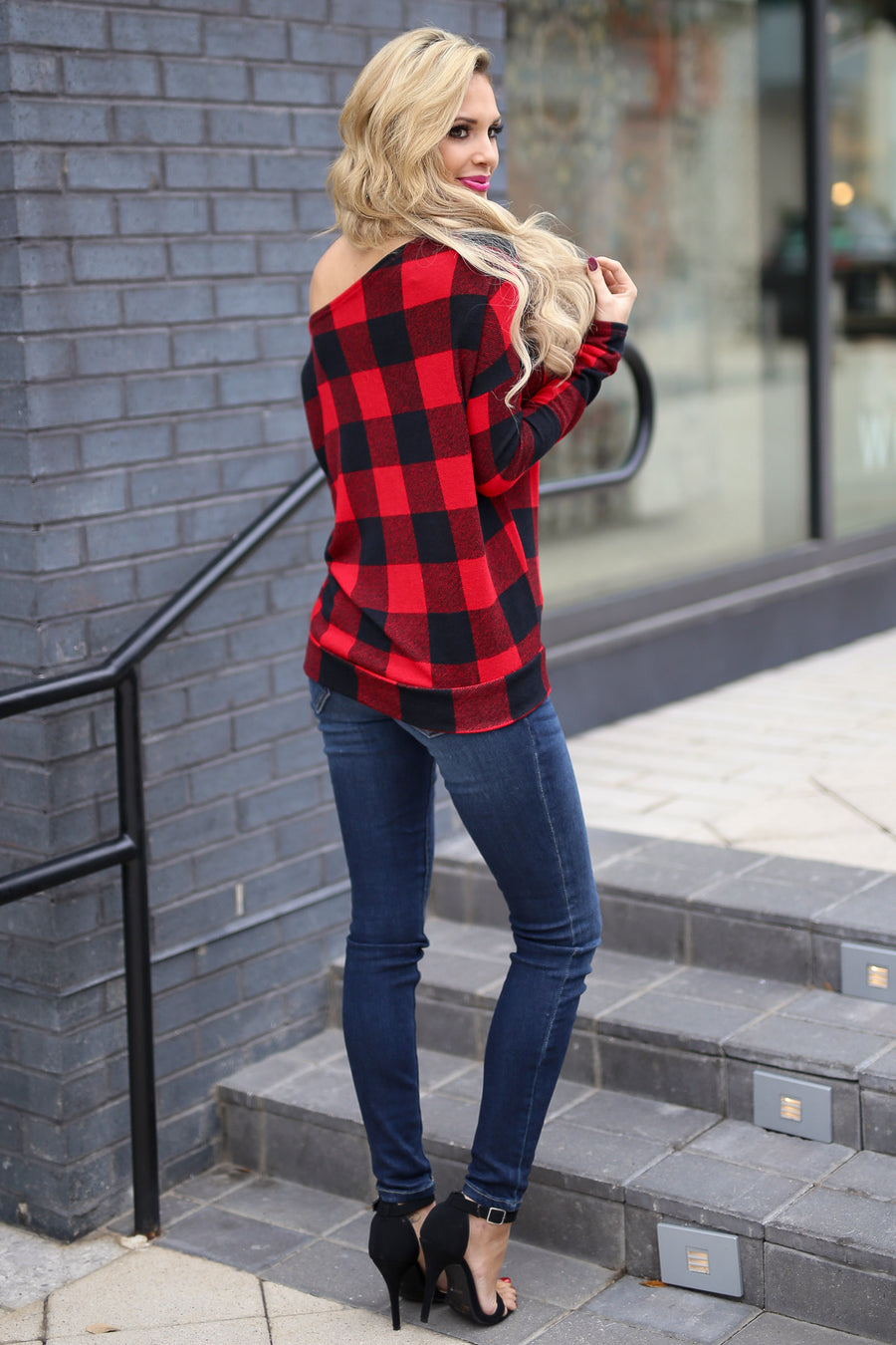 Feel The Magic Top - Black/Red plaid off the shoulder top, outfit, Closet Candy Boutique