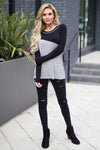 You Have My Heart Top - Black & Heather Grey long sleeve top, front, Closet Candy Boutique