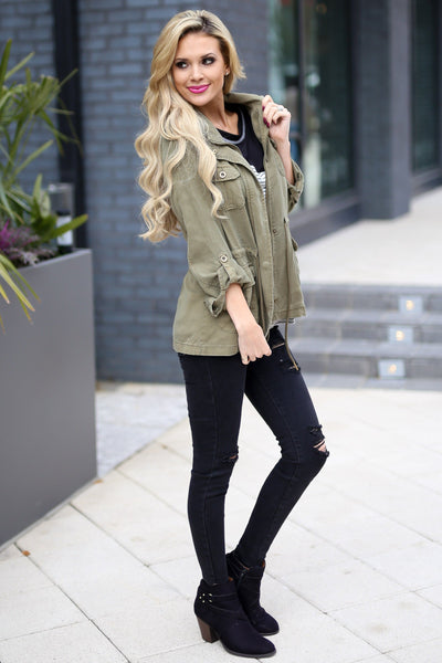 Where We Are Bound Cargo Jacket - Olive women's layering jacket, Closet Candy Boutique 2