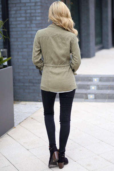 Where We Are Bound Cargo Jacket - Olive women's layering jacket, Closet Candy Boutique 3