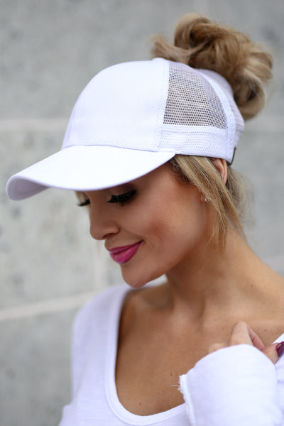 Amore Ponytail Hats - wine, black, white trendy cutout baseball cap, sheer panels, allows for top bun or high ponytail, closet candy boutique 4