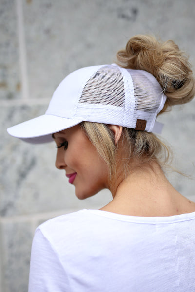 Amore Ponytail Hats - wine, black, white trendy cutout baseball cap, sheer panels, allows for top bun or high ponytail, closet candy boutique 6