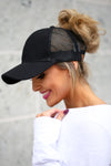 Amore Ponytail Hats - wine, black, white trendy cutout baseball cap, sheer panels, allows for top bun or high ponytail, closet candy boutique 2
