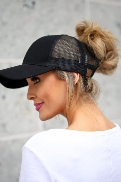 Amore Ponytail Hats - wine, black, white trendy cutout baseball cap, sheer panels, allows for top bun or high ponytail, closet candy boutique 5
