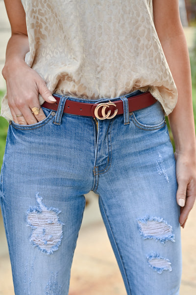 CC Skinny Belt - Wine & Gold womens trendy double C vegan leather belt