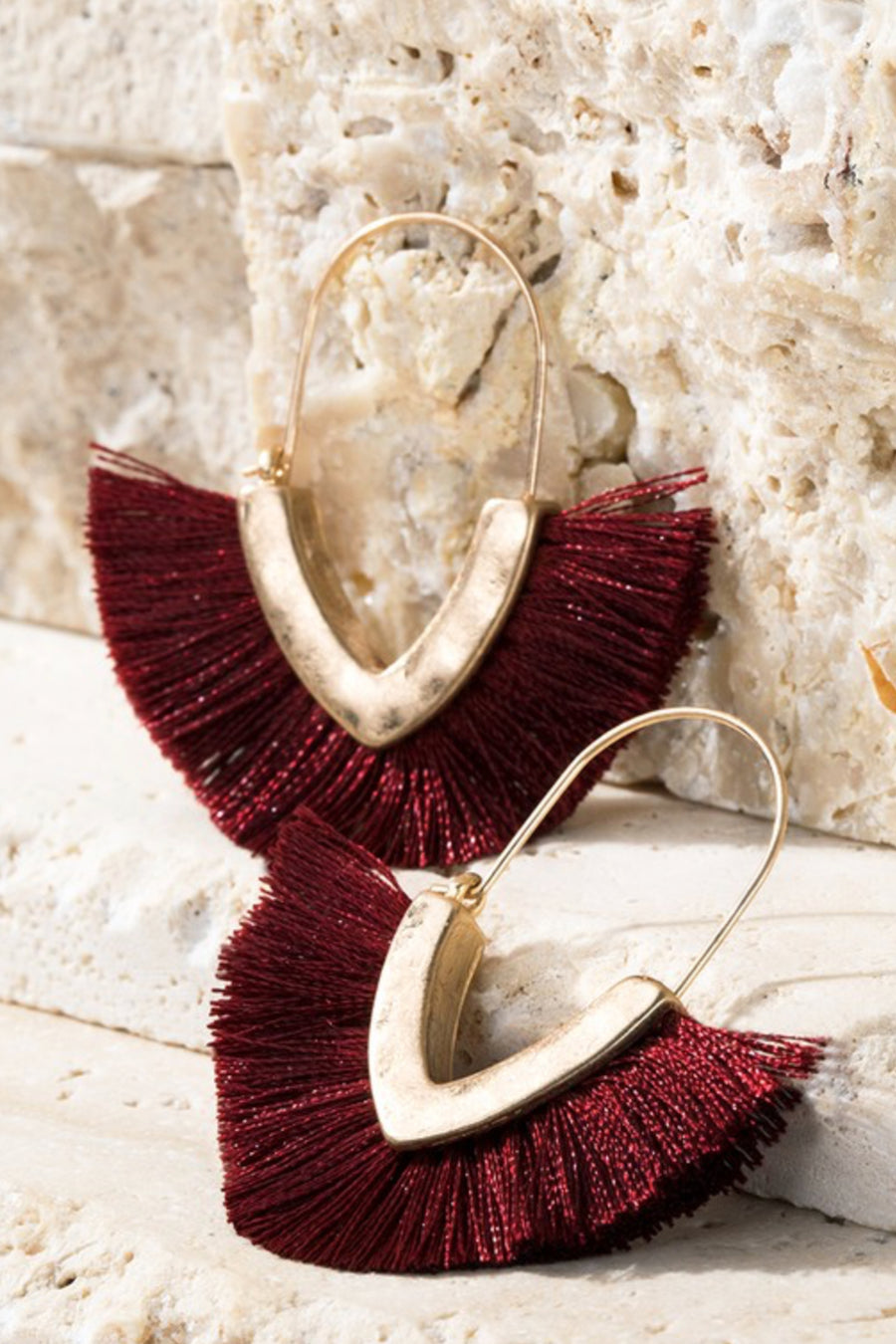 Fan Girl Earrings - Burgundy womens v-shape gold tone tassel fan earrings closet candy side