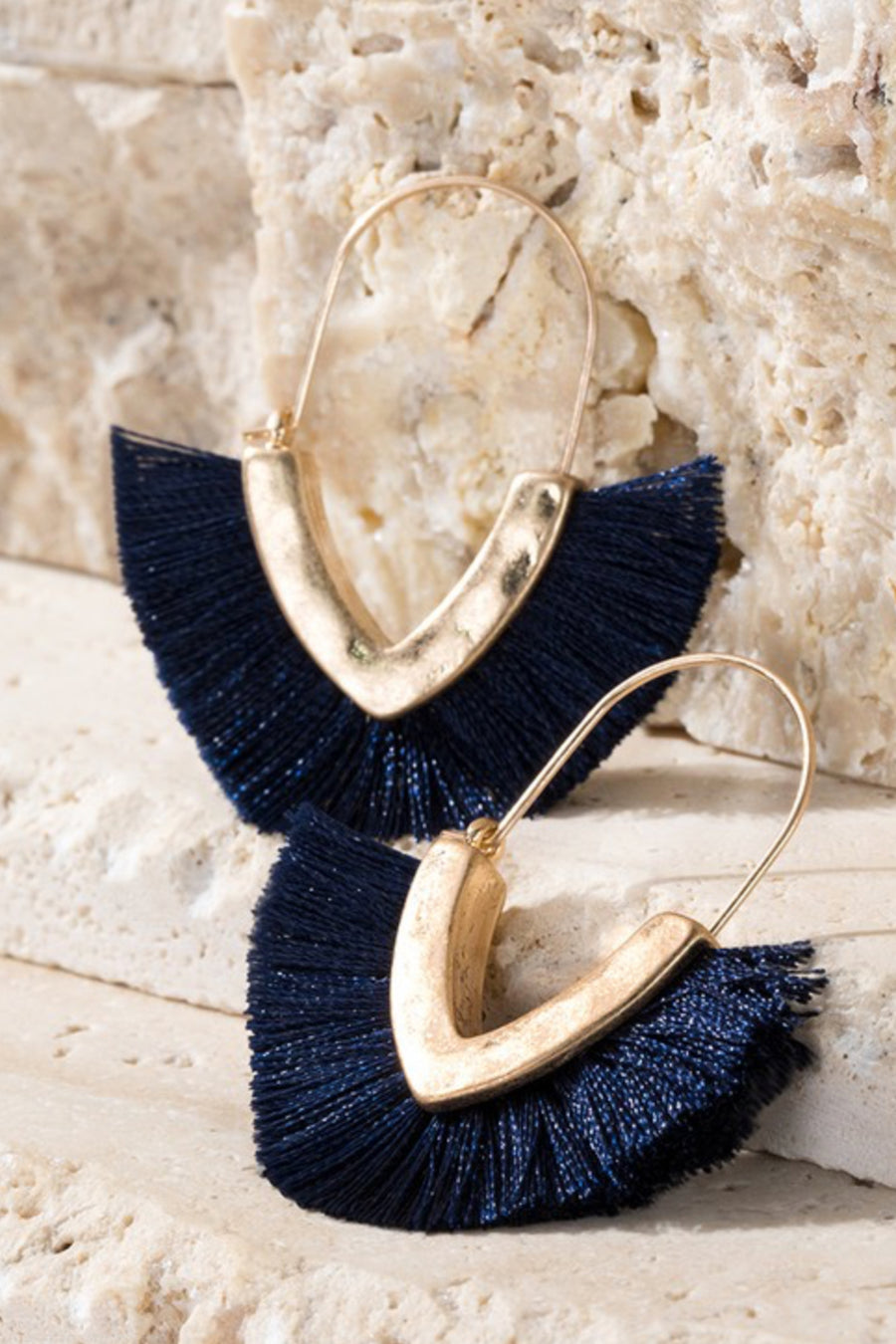 Fan Girl Earrings - Navy womens trendy tassel detail fan earrings closet candy side