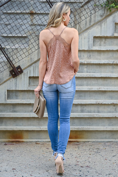 LOVE STITCH Slice Of Heaven Leopard Cami - Rose Gold womens trendy lace detail adjustable strap tank top closet candy back