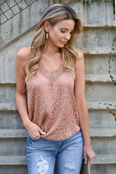 LOVE STITCH Slice Of Heaven Leopard Cami - Rose Gold womens trendy lace detail adjustable strap tank top closet candy front