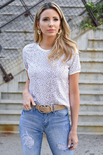 Mysterious Leopard Crop Top - Taupe womens casual short sleeve crop top leopard print closet candy front