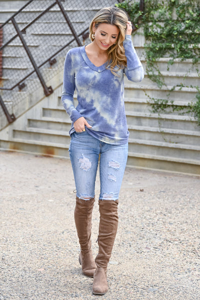 Trust Yourself Tie Dye Top - Periwinkle womens casual long sleeve ribbed knit v-neck raw edge top closet candy front 2